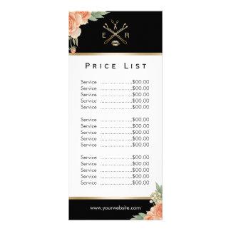 Price List | Makeup Artist Hair Stylist Floral Rack Card