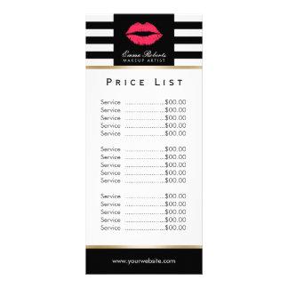 Price List | Makeup Artist Red Lips Modern Stripes Custom Rack Cards