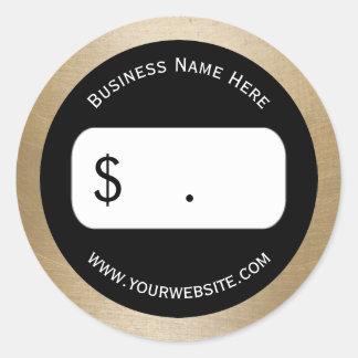 Price Tag Elegant Gold Border Round Sticker