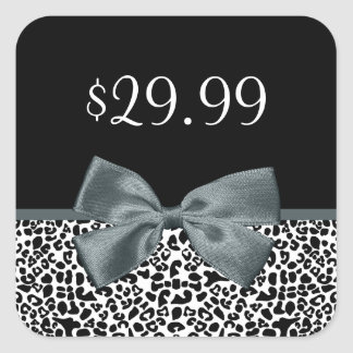 Price Tags Sophisticated Leopard Print Gray Bow Square Sticker