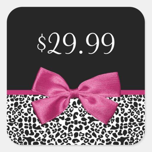 Price Tags Vivacious Dark Pink Bow Leopard Print Stickers