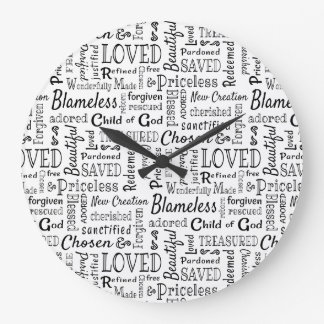 Priceless Christian Words of Affirmation Large Clock