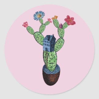 Prickly cactus with flowers classic round sticker