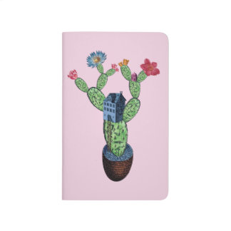 Prickly cactus with flowers journal
