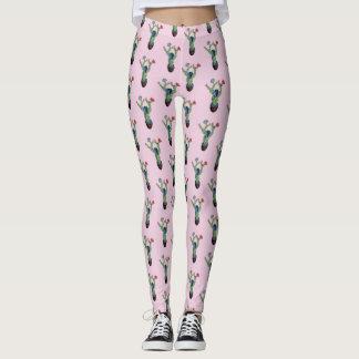 Prickly cactus with flowers leggings
