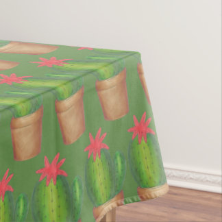 Prickly Green Cactus Garden Flower Potted Plant Tablecloth