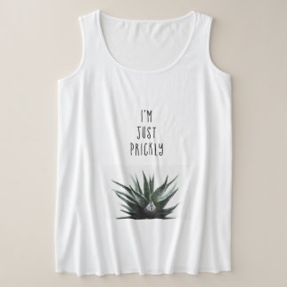 Prickly humour tanktop, succulent bother quote plus size tank top