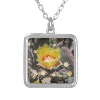 Prickly Pear Black Spined Square Pendant Necklace