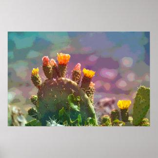 Prickly Pear Cactus Art Poster