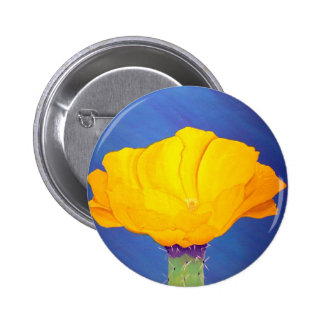 Prickly Pear Cactus Flower Pinback Button