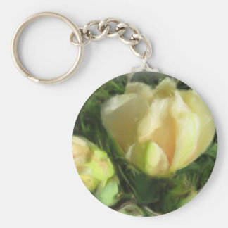 Prickly Pear Cactus Flower Basic Round Button Key Ring