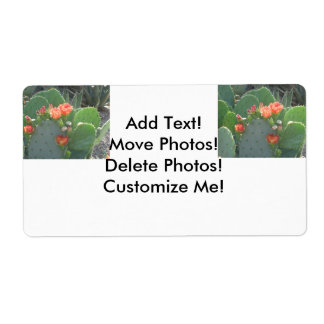 Prickly Pear Cactus Green Red Bloom Shipping Label