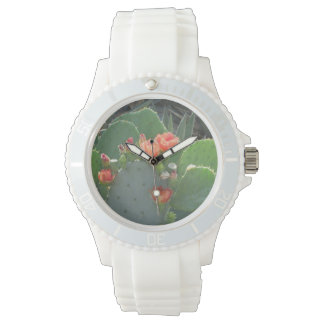 Prickly Pear Cactus Green Red Bloom Watches