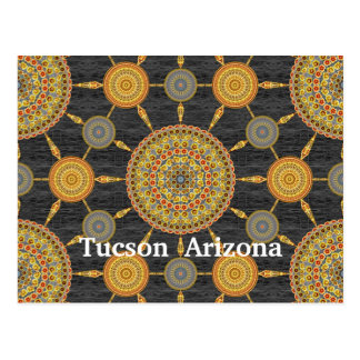 Prickly Pear Cactus Mandala Array Postcard