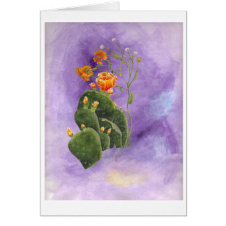 Prickly pear cactus on a stormy night note card