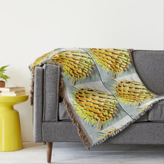 Prickly Pear Cactus Paddle Throw Blanket
