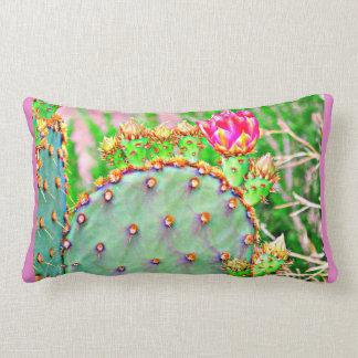 Prickly Pear Cactus with Pink Bloom Lumbar Pillow