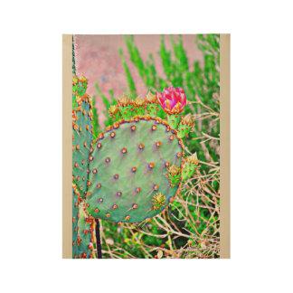 Prickly Pear Cactus Wood Art Wood Poster