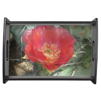 Prickly Pear Green with Red Bloom Serving Tray