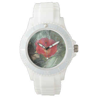Prickly Pear Green with Red Bloom Wrist Watch