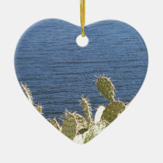 Prickly Pear on the Lake Ceramic Heart Decoration