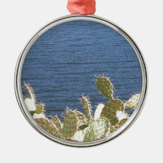 Prickly Pear on the Lake Silver-Colored Round Decoration