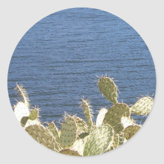 Prickly Pear on the Lake Round Sticker