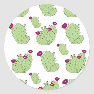 Prickly Pear Pattern Classic Round Sticker
