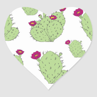 Prickly Pear Pattern Heart Sticker