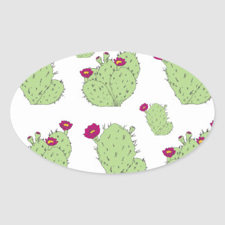 Prickly Pear Pattern Oval Sticker