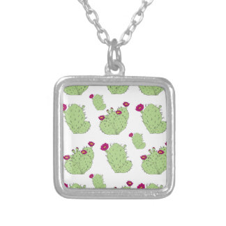 Prickly Pear Pattern Silver Plated Necklace