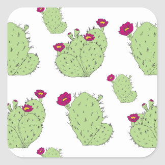Prickly Pear Pattern Square Sticker