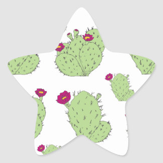 Prickly Pear Pattern Star Sticker