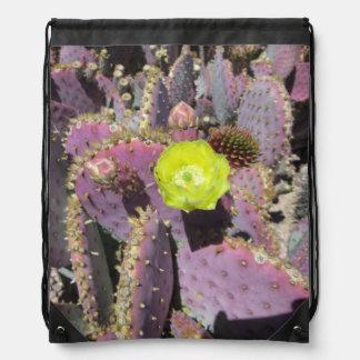 Prickly Pear Purple Yellow Drawstring Backpacks