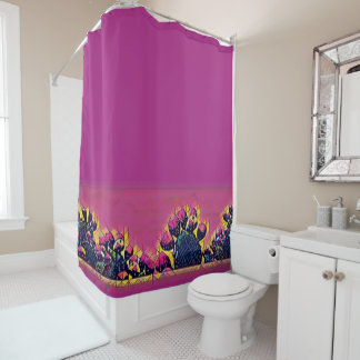Prickly Pear Sunset Shower Curtain