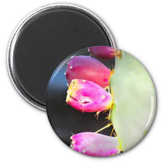 Prickly Pear Watercolor, Personalize! 6 Cm Round Magnet