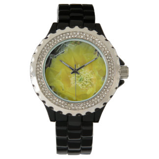 Prickly Pear Yellow Bloom Close Wrist Watch