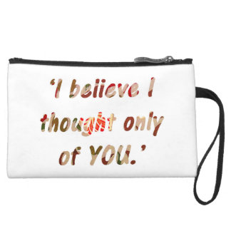 Pride and Prejudice Quote Double-Sided Suede Wristlet