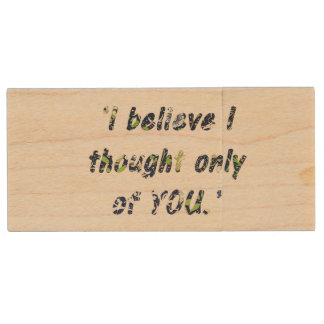 Pride and Prejudice Quote Double-Sided Wood USB Flash Drive