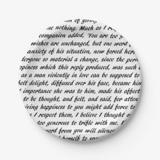 Pride and Prejudice Text 7 Inch Paper Plate