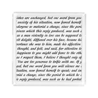 Pride and Prejudice Text Acrylic Tray