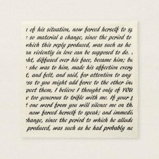 Pride and Prejudice Text Disposable Serviettes