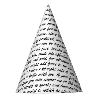 Pride and Prejudice Text Party Hat