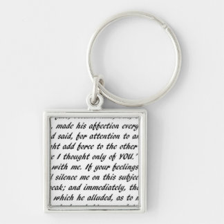 Pride and Prejudice Text Silver-Colored Square Key Ring