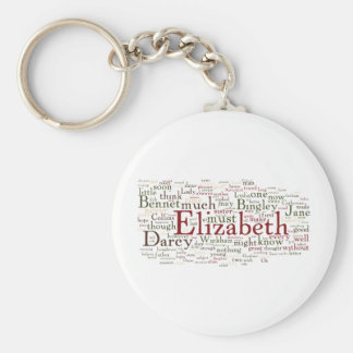 Pride and Prejudice Word Cloud Basic Round Button Key Ring