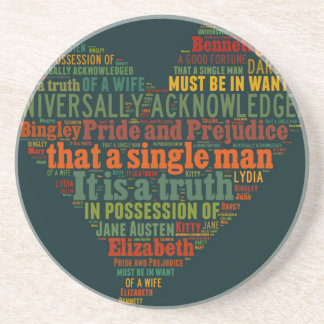 Pride and Prejudice Word Cloud Coaster