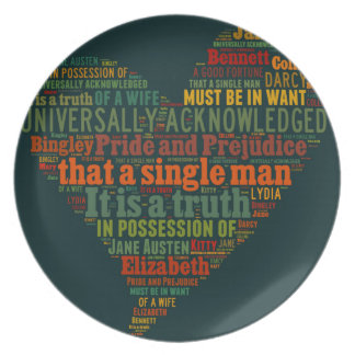Pride and Prejudice Word Cloud Dinner Plate