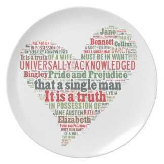 Pride and Prejudice Word Cloud Dinner Plates