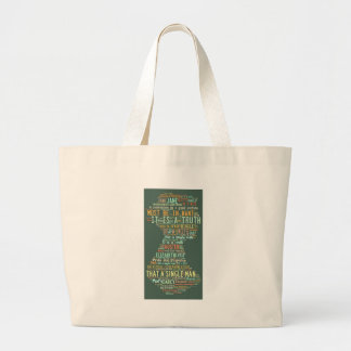 Pride and Prejudice Word Cloud Large Tote Bag