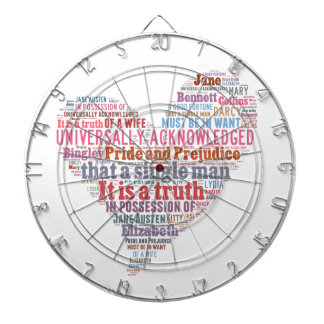 Pride and Prejudice Word Cloud Pink Dartboard